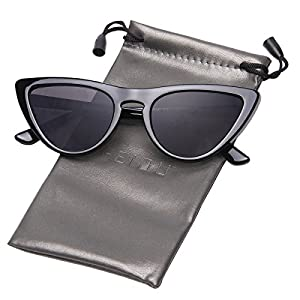 FEIDU Modern Polarized Sunglasses for Women Retro shades Cat-eye Glasses FD 9016 (Black/Black, 2.56)
