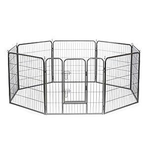 dibea Parque para mascotas cachorros Jaula plegable cercado libre 8 piezas (M) 80×80 cm