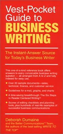 vest pocket guide to business writing the instant answer source for rh amazon com Folding Pocket Guide Euro to Dollar Pocket Guide