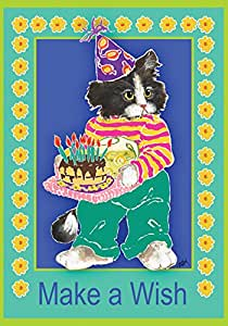 Toland Home Garden Kitty Wishes 28 x 40 Inch Decorative Birthday Party Cake Kitten Cat Celebrate House Flag