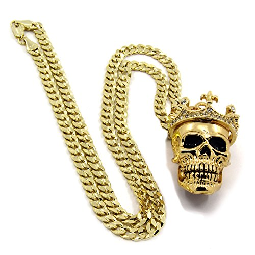 Men's 14k Gold Plated King Head Skull Pendant 24