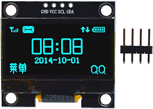 1.3 Blue OLED LCD 4Pin Display Module IIC I2C 128x64 3-5V Interface for Arduino 51 UNO R3,Blue