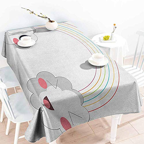 Willsd Waterproof Table Cover,Anime Two Clouds and a Rainbow Happy Face Expressions Japanese Design for Kids Nursery,Party Decorations Table Cover Cloth,W50x80L Multicolor
