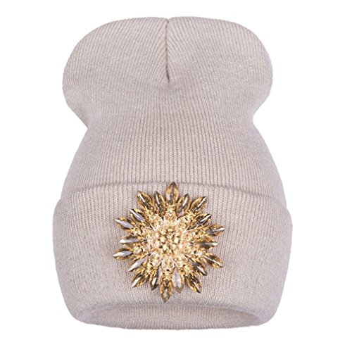 - Keenwhile Ralferty New Winter Hats For Women Knitted Luxury Flower Crystal Beanies Hat Off White Female Skullies Caps Gorras Gorros beige gold