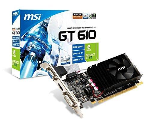 MSI N610-2GD3/LP NVIDIA GeForce GT 610 Graphic Card - 810 MHz Core - 2 GB GDDR3 SDRAM - PCI Express 2.0 x16 1000MHz Memory Clock, DirectX 11.00 HDMI - DVI - VGA LOW PROFILE
