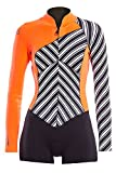 Glidesoul Women's Vibrant Stripes Collection 2mm Spring Suit, Stripes Print/Black/Peach, X-Small