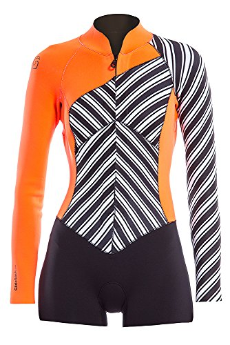 Glidesoul Women's Vibrant Stripes Collection 2mm Spring Suit, Stripes Print/Black/Peach, X-Small by GlideSoul