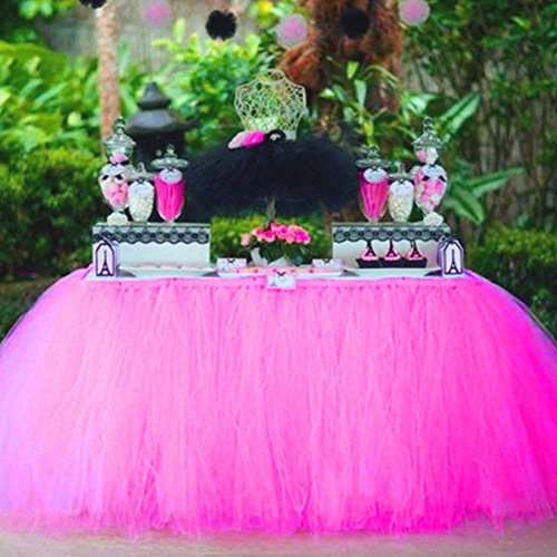 Tulle Table Skirt Fabric Tutu Table Cloth for Rectangle or Round Tables / Fashion Deluxe Romantic Wedding Birthday Party Baby Shower Decorative tablecloth / Table Cover (Rose Red L:3ft H:2.6ft) by YDJ