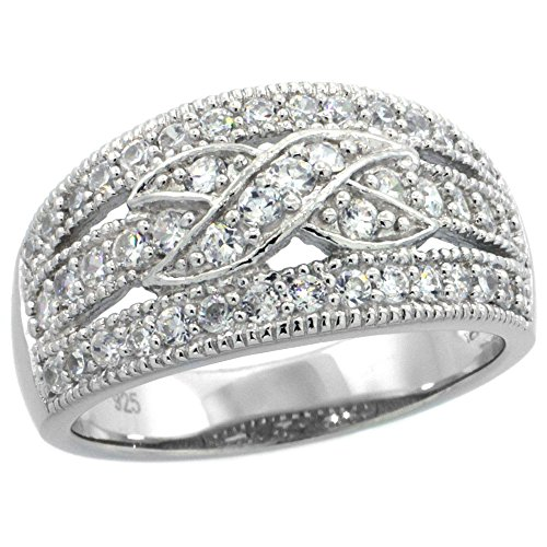 - Sterling Silver Vintage Style Cubic Zirconia Cigar Band Ring Cross Center 7/16 inch wide, size 9