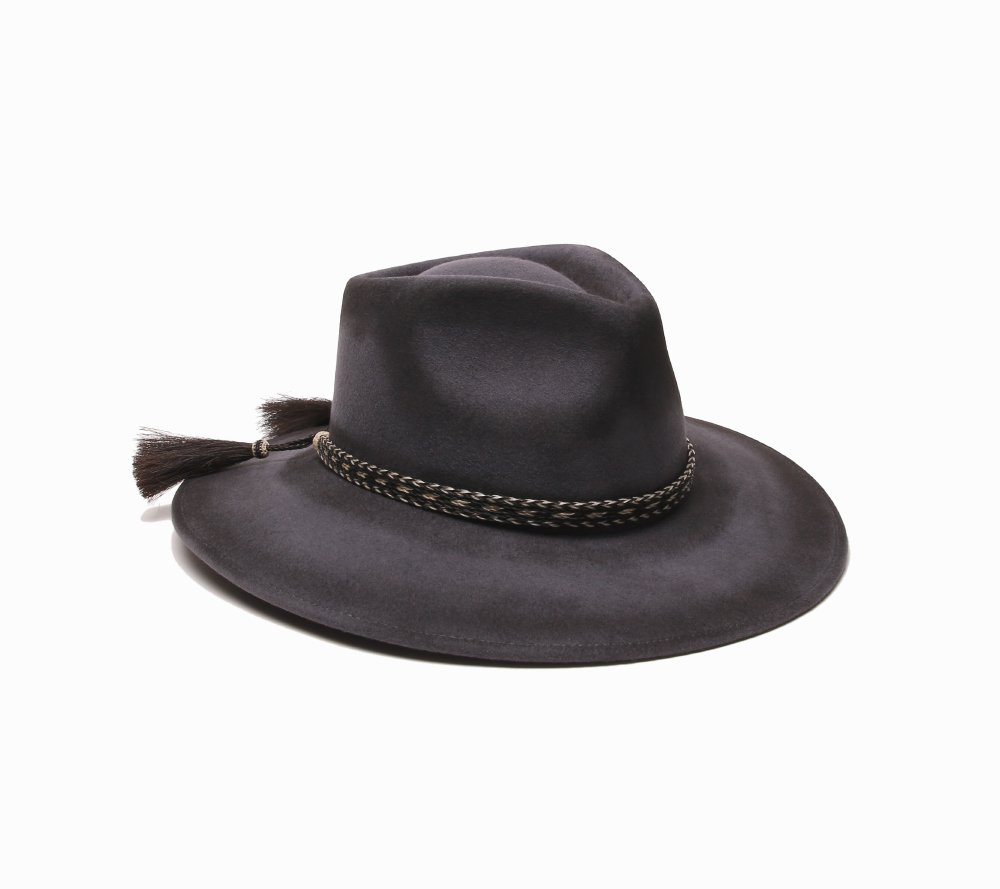 'ale by alessandra Women's Roxy Dene Distressed Felt Hat with Horse Tail Trim, Gray, Adjustable Head Size