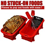 Walfos Nonstick Silicone Bread and Loaf Pan Set of 2, No odor, Easy baking mold for Homemade Cakes, Breads, Meatloaf and quiche (2, Red)