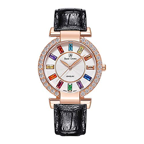 Royal Crown Women's Quartz Watch Fashion Leather Rose Gold-Tone Girl Watch Jewelry Waterproof Wrist Watches from Royal Crown