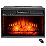 AKDY Freestanding Multi Setting LED Backlight Buttons Temperature Control Adjustable Remote Electric Fireplace Heater w/ Log Set