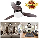 "GC Global Direct 42"" Dimmable Ceiling Fan with Light & Remote Control Opt (3 Blade Bronze)"
