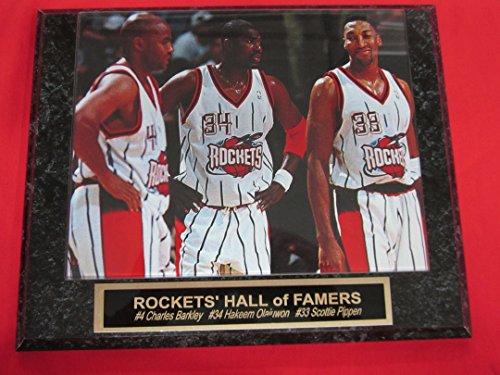 Rockets Charles Barkley Hakeem Olajuwon Scottie Pippen Engraved Collector Plaque w/8x10 RARE Photo
