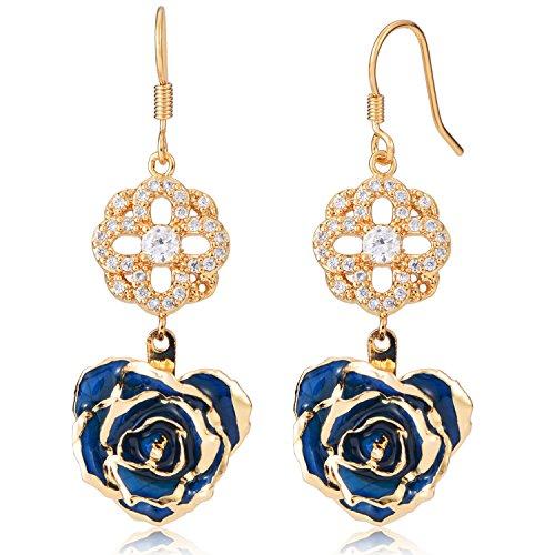 ZJchao Flower Dangle Earrings for Women 24K Gold Dipped Rose Indian Drop Earrings Jewelry for Her Birthday Gift (blue) (24k Gold Drop)