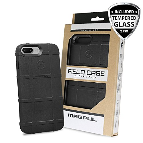 iPhone 7 Plus Case, iPhone 8 Plus Case, with TJS [Tempered Glass Screen Protector], Magpul [Field] MAG849 Polymer Case Cover Retail Packaging For Apple iPhone 7 Plus/iPhone 8 Plus (Black)