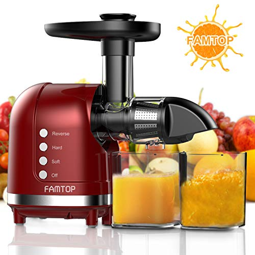 Great Features Of FAMTOP Slow Masticating Juicer Extractor with Reverse Function Quiet Motor Cold Pr...