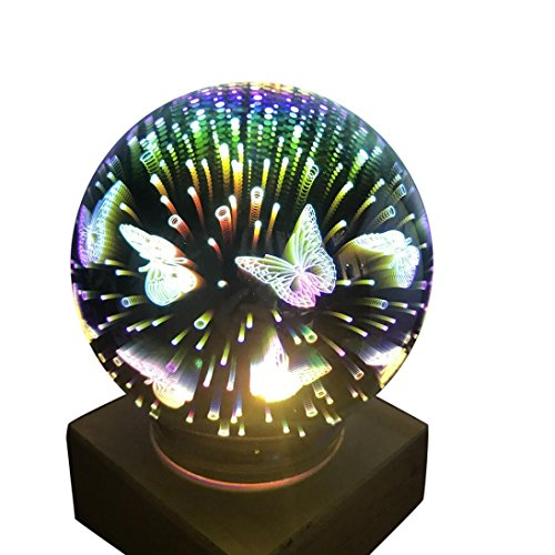 Nightlight,YJYdada USB Charging LED Colorful 3D Magical Dragonfly Light House Party Decor (Plate Plug In Ceiling)