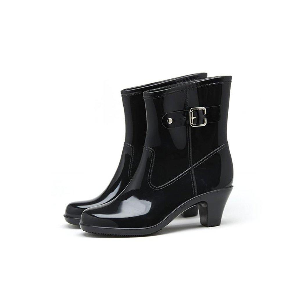 HOTER Latest Simple Fashionable Stylish Glitter Medium Heel Lady Rain Boots Skidproof/Waterproof Rainy Day/Outdoor Activities