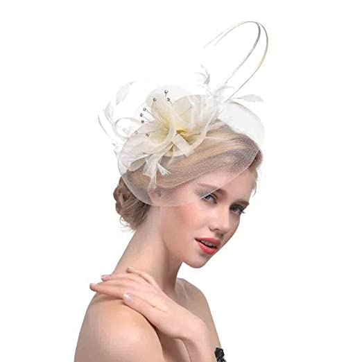 MOMEPE Tea Party Fascinator Horse Bride Derby Hat Hair Clip Headdress Beige 30a7e0c6bca