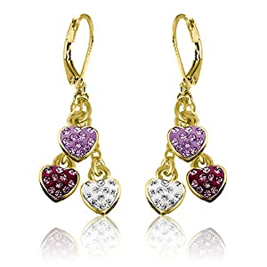 Little Girls Earrings with Three Crystal Hearts- 14kt Gold Plated Leverbacks Fashion Jewelry for Girls