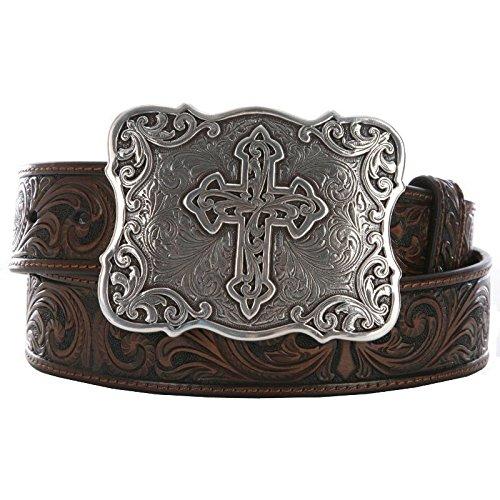 (Nocona Women's Large Cross Buckle Belt, Brown, L)