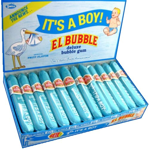 El Bubble It's A Boy Bubble Gum Cigars, Packages (Pack of 36)