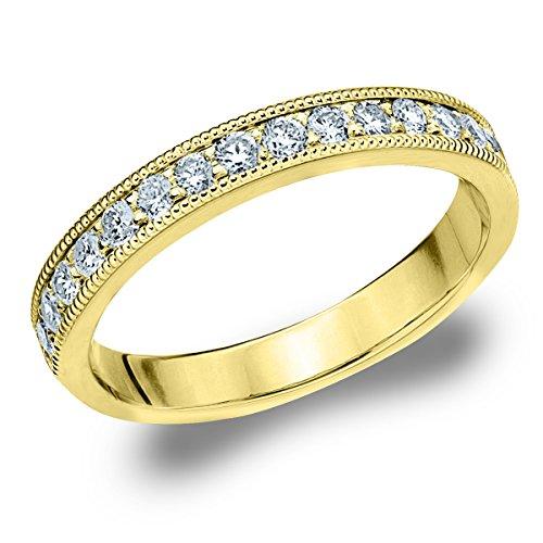 18K Yellow Gold Diamond Milgrain Edge Prong Set Ring (.25 cttw, G-H Color, SI1-SI2 Clarity) Size 4.5 18k Gold Milgrain Wedding Band
