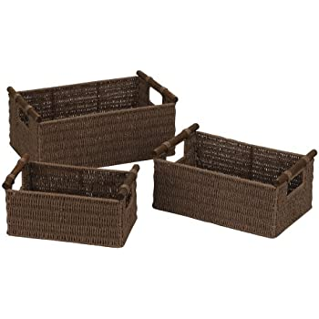 This Item Household Essentials ML 7050 Paper Rope Wicker Storage Baskets  With Wood Handles | Set Of 3 | Dark Brown Stain