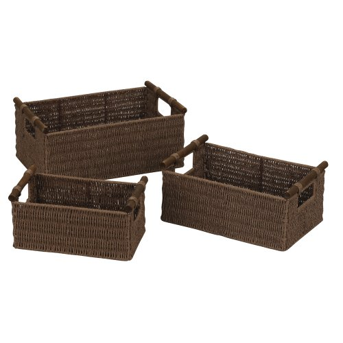 Household Essentials ML-7050 Paper Rope Wicker Storage Baskets with Wood Handles | Set of 3 | Dark Brown Stain (Dark Wicker Basket)
