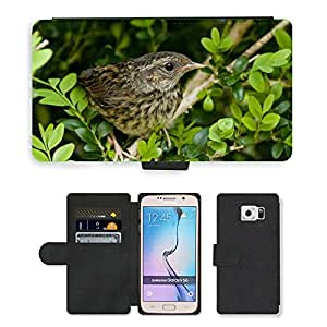 Hot Style Cell Phone Card Slot PU Leather Wallet Case // M00111174 Blackbird Birds Fledglings // Samsung Galaxy S6 (Not Fits S6 EDGE)