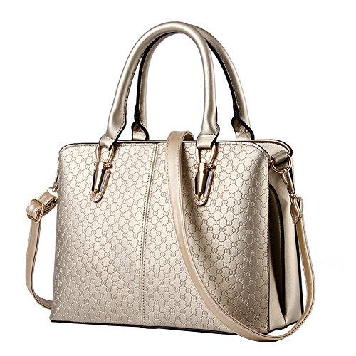 Kindavin Leather Womens Tote Shoulder Handbag Satchel Bags Gold