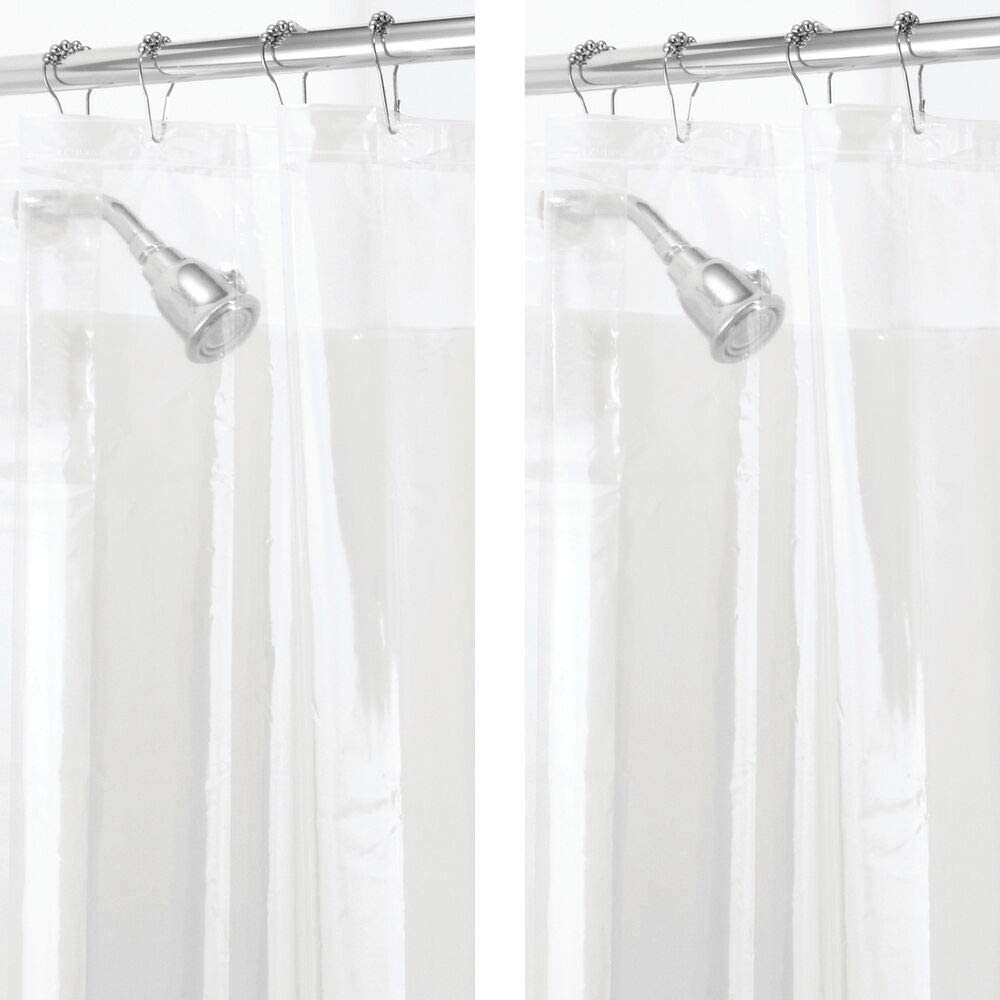 mDesign Plastic, Mold/Mildew Resistant, PEVA Shower Curtain Liner for Bathroom Showers and Bathtubs - 3 Gauge - 2 Pack - Clear: Home & Kitchen