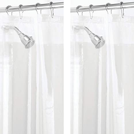 2 Pack STALL Sized Waterproof Heavy Duty Premium Quality 10-Guage Vinyl Shower Curtain Liner for Bathroom Shower Stall and Bathtub 54 x 78 mDesign Mold//Mildew Resistant Clear