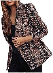 Doublelift Women Plaid Office Blazer Formal Open Front Cardigan Jacket Pocket Suit Coat Lapel Suit Satin Jacke