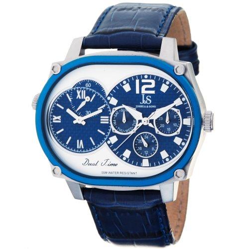 Joshua & Sons Men's Quartz Stainless Steel and Leather Dress Watch, Color:Blue (Model: JS-29-04) -