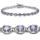 4.60 Carat Genuine Tanzanite Silver Bracelet