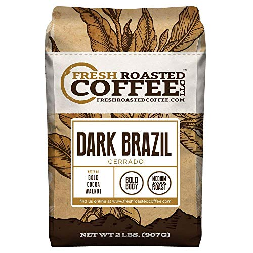 Fresh Roasted Coffee LLC, Dark Brazilian Cerrado, Medium-Dark Roast, Whole Bean, 2...