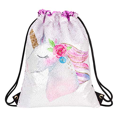 - Unicorn Gifts Magic Reversible Sequin Drawstring Backpack Mermaid School Gym Dance Bags for Girls Glitter Beach Travel Bag (style 3-Purple)