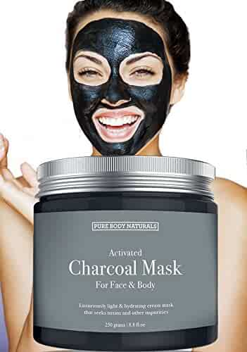 NEW Activated Charcoal Face Mask, Charcoal Mask for Blackheads, Acne, Oily Skin, Hydrating & Exfoliating, by Pure Body Naturals, 8.8 Fl. Ounce
