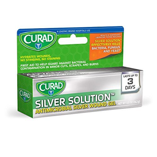 Curad CUR45951RB Antimicrobial Gel Silver Solution Wound Gel, 0.5 oz Tube (Pack of - Gel Ounce 0.5