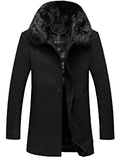 Etecredpow Men Thick Toggle Fleece Lined Faux Fur Hooded Mid-Long Parkas Coats Jacket