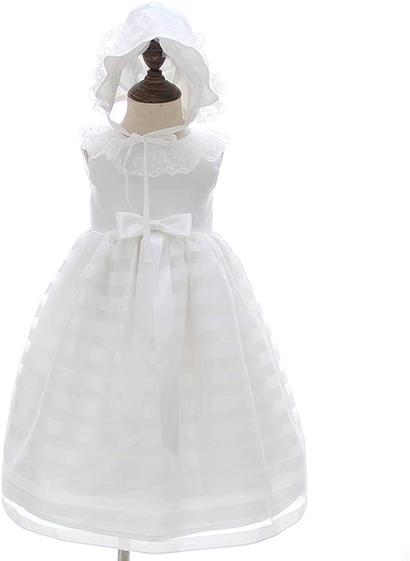 AHAHA Vestidos Largos del Bautizo de Las Muchachas del Beb/é Vestido Formal del Bautismo de la Ocasi/ón Especial con el Sombrero y la Venda