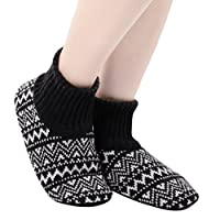 Panda Bros Slipper Socks for Women Soft Cozy Thick House Indoor Boot Sock Shoes with Anti-Skid Bottom Soles(mixed colors,5-7.5)
