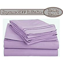 Clara Clark Supreme 1500 Collection 4pc Bed Sheet Set-King Size, Lavender