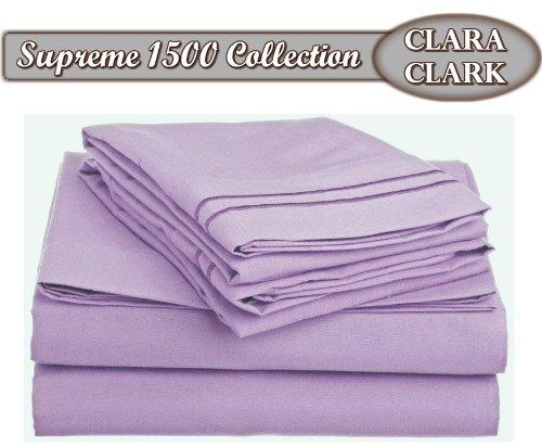 Clara Clark Superior Bed Sheet Set - Double Brushed Microfiber 4-Piece Bed Set - Deep Pocket Fitted Sheet - Full - Lavender