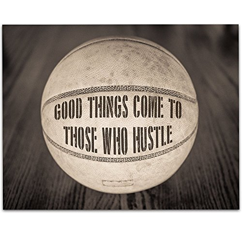 Basketball Photo Frame Award - Basketball - Good Things Come To Those Who Hustle - 11x14 Unframed Art Print - Great Boy's/Girl's Room Decor and Gift for Basketball Fans