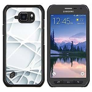 YiPhone /// Prima de resorte delgada de la cubierta del caso de Shell Armor - Líneas de arte 3d banda de plástico blanco limpio - Samsung Galaxy S6Active Active G890A