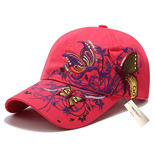 Taihemingna 2018 New Women Cotton/Embroidered Caps  Hat Hat Flower Baseball Sport Golf Adjustable Breathable Sun Hat Baseball Running Cap Sunhat Mesh Sunbonnet Outdoor (red)